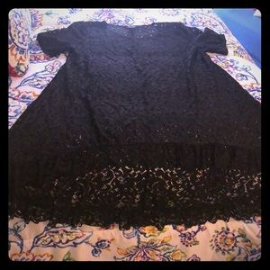 Black Lace Sz 3X High Low Short Sleeve Blouse